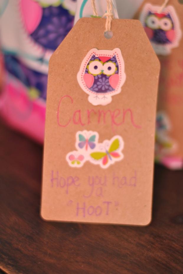 Homemade owl themed tags